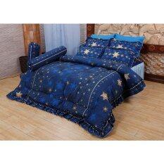 Satin ชุดผ้าปูที่นอน 6ฟุต 5ชิ้น นวม ขนาด 90X100 นิ้ว ลายดาวน้ำเงิน สีดำ Satin ถูก ใน กรุงเทพมหานคร