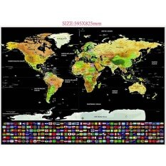 Scratch Off แผนที่โลกท่องเที่ยวส่วนบุคคล Tracker แผนที่ถูเหรียญ Scratchable โปสเตอร์ผนังที่ไม่ซ้ำกันของขวัญตกแต่งผู้ที่ชื่นชอบการเดินทาง.