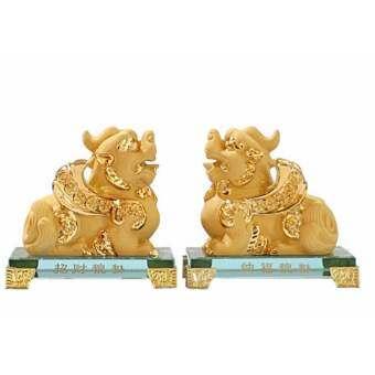 Seasunfengshui ปี่เซี๊ยะ ผีสิว คู่ทรายทอง ฐานคริสตัล  (Gold)-