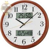 ราคา Seiko นาฬิกาแขวนขอบไม้แท้ 14 มีจอปฎิทิน Lcd Thermometer รุ่น Qxl012B ใหม่ ถูก