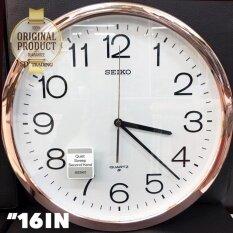 ราคา Seiko นาฬิกาแขวน 16 นิ้ว ขอบPinkgoldหน้าขาว รุ่น Pqa041F ถูก