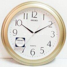 ขาย Seiko นาฬิกาแขวนผนัง ขอบพลาสติกสีบอร์นทอง หน้าขาว รุ่น Qxa327G ถูก ไทย