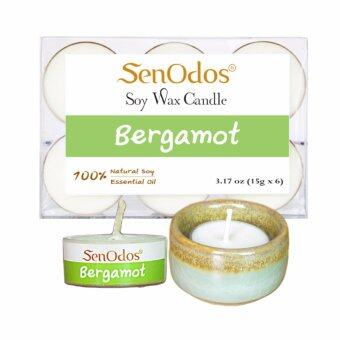 SenOdos เทียนหอม อโรม่า เทียนทีไลท์ Tealight Set Bergamot Scented Soy Candles Aroma - กลิ่นมะกรูดแท้ 15 g (6 PCS) + เชิงเทียน ที่วางเทียนทีไลท์ ศิลาดล (เซลาดล) สีเขียวหยกขอบทอง