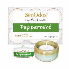 โปรโมชั่น Senodos เทียนหอม อโรม่า เทียนทีไลท์ Tealight Set Peppermint Scented Soy Candles Aroma กลิ่นเปปเปอร์มินท์แท้ 15 G 6 Pcs เชิงเทียน ที่วางเทียนทีไลท์ ศิลาดล เซลาดล สีเขียวหยกขอบทอง