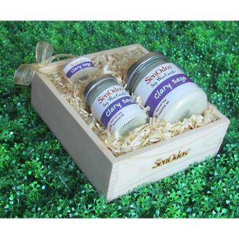SenOdos Lover Set ชุดของขวัญ ชุดกิ๊ฟเซ็ต Gift Set เทียนหอม อโรม่า Clary Sage Scented Soy Candle Aroma Set ชุดกลิ่นแครี่เซจแท้ บรรจุในกล่องไม้สน รูปทรงเหลี่ยม สวยงาม คุณภาพดี นำเข้าจากนิวซีแลนด์