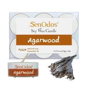 SenOdos เทียนหอมอโรม่า ทีไลท์ Tealight Set Agarwood Soy Candles กลิ่นไม้หอมกฤษณา ขนาดพกพา 15 g. (6 ชิ้น)