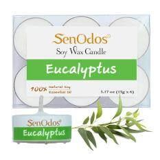 ราคา Senodos เทียนหอม อโรม่า ทีไลท์ Tealight Set Eucalyptus Scented Soy Candles Aroma กลิ่นยูคาลิปตัส ขนาดพกพา ขนาดทดลอง 15G X 6 ชิ้น Senodos เป็นต้นฉบับ