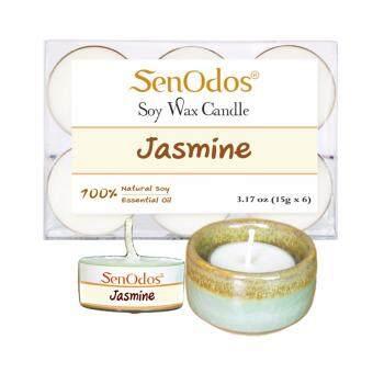 SenOdos เทียนหอม อโรม่า เทียนทีไลท์ Tealight Set Jasmine Soy Candles เทียนหอม อโรม่า - กลิ่นมะลิแท้ 15 g. (6 ชิ้น) + เชิงเทียน ที่วางเทียนทีไลท์ ศิลาดล (เซลาดล) สีเขียวหยกขอบทอง