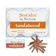 ส่วนลด Senodos เทียนหอมอโรม่า ทีไลท์ Tealight Set Sandalwood Soy Candles กลิ่นไม้หอมแก่นจันทร์ ขนาดพกพา 15 G 6 ชิ้น