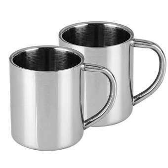 ชุด 2 ชิ้นสแตนเลสสตีลชากาแฟเบียร์แก้วน้ำดื่มคัพถ้วยผนังคู่ที่มีด้ามจับเหมาะสำหรับเด็ก 220 มิลลิลิตร-นานาชาติ