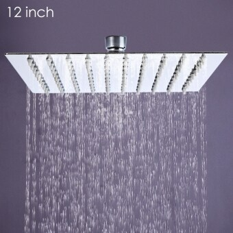 SH 12 inch High Pressure Ultra Thin 201 Stainless Steel Square Rain Shower Head Silver Silver - intl