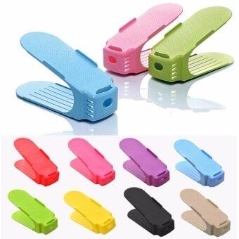 รองเท้าช่องใส่ แสดงตู้แร็ครองเท้าตู้เก็บของประหยัดพื้นที่พลาสติก (8 สี)-นานาชาติ