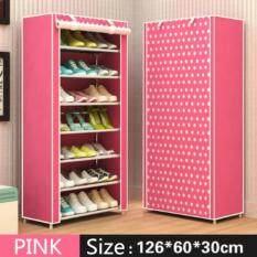ขาย Shoes Rack ชั้นวางรองเท้า ตู้เก็บรองเท้า ตู้ใส่รองเท้า 7 ชั้น จำนวน 21 คู่ สีชมพู Pink Unbranded Generic