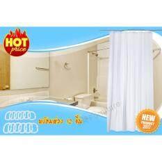 ราคา Shower Curtain ม่านห้องน้ำ ผ้าม่านห้องน้ำพร้อมห่วง 12ชิ้น ขนาด 180X200 ซม รุ่น Innaren สีขาว ใหม่