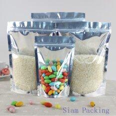 ราคา ขนาด 12X18 3 5 ซม Siam Packing ถุงหน้าใสหลังเงิน ซิปล็อค ตั้งได้ แพ็ค 100 ใบ ใหม่