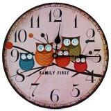 ขาย Silent Round Wall Clocks Decorative Owl Wooden Clock Intl