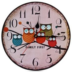 ส่วนลด สินค้า Silent Round Wall Clocks Decorative Owl Wooden Clock Intl