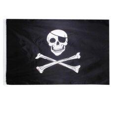 ราคา กะโหลกศีรษะและ Crossbone ธงโจรสลัด Jolly Roger ธงขนาดใหญ่ 150 90 เซนติเมตร 5 3Ft ใหม่
