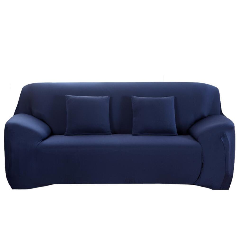 Slipcover Stretchable Pure Color Sofa Cushion Covers (Loveseat Navy Blue) - intl
