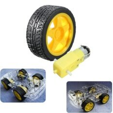 ซื้อ Smart Car Robot Plastic Tire Tyre Wheel Dc 3 6V Gear Motor Set For Arduino Intl ถูก