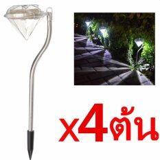 Solar LED Diamond ไฟแต่งสวนทรงเพชรพลังงานแสงอาทิตย์ 4 ต้น