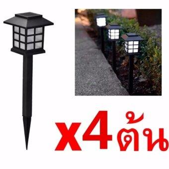Solar LED Zen CoolWhite ไฟทรงโคมญี่ปุ่นพลังงานแสงอาทิตย์ 4 ต้น (โทนแสงขาวเย็น)