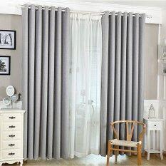 Solid Grommet Window Curtain Foam Lined Gray เป็นต้นฉบับ