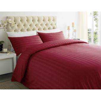 SP Luxury ชุดผ้าปูที่นอนเกรดโรงแรมลายริ้ว 7 ฟุต (5 ชิ้น) สีแดง