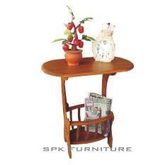 Spk Shop โต๊ะไม้จริงวางของอเนกประสงค์ รุ่นมีกระเช้า สีสักทอง ถูก