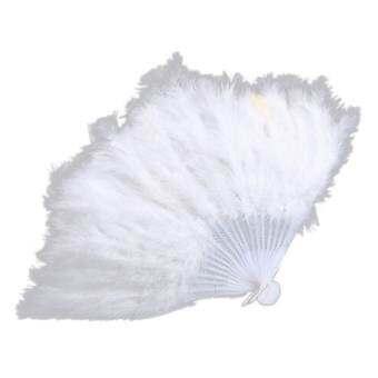 Sporter พัดขนนกพับสำหรับโชว์เกิร์ลแดนซ์สีขาว