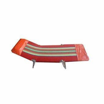 SR เตียงสนาม 3 พับ ผ้ากำมะหยี่ ปรับเอนนอนได้ 3 ระดับ (สีแดง)