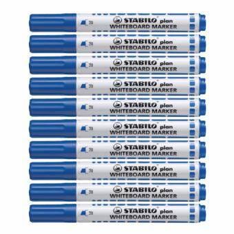 STABILO สตาบิโล Plan ปากกาไวท์บอร์ด ไวท์บอร์ด หัวตัด ขนาด 2.5-3.5 mm. - สีน้ำเงิน จำนวน 10 ด้าม (กลิ่นไม่ฉุน)-