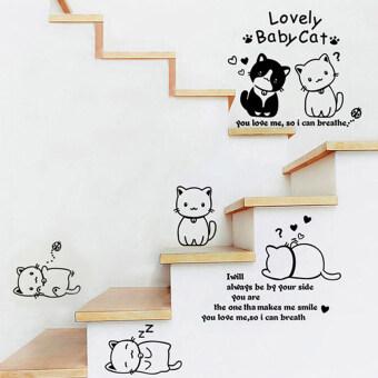สติ๊กเกอร์ติดผนัง (Wall sticker) / ลาย Lovly baby cat/ 110x125 cm.