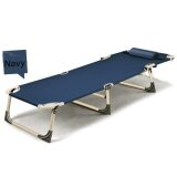 Sun Lounger Garden Bed Chair Recliner Pool Seat With Hole U Pillow Fold Flat Navy Blue Intl ถูก