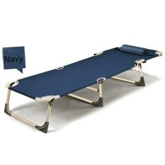 Sun Lounger Garden Bed Chair Recliner Pool Seat With Hole U Pillow Fold Flat Navy Blue Intl Thailand