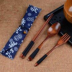 Sunshop แบบพกพาตะเกียบไม้สไตล์ญี่ปุ่นช้อน Forktableware ชุดเหล้าองุ่น + กระเป๋าสีฟ้า - สนามบินนานาชาติ.