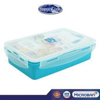 Super Lock กล่องอาหารกลางวัน พร้อมช้อนส้อม 850 ml รุ่น 6189 สีฟ้า