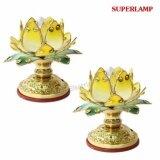 ราคา Superlamp แพ็คคู่ เชิงเทียนไฟฟ้า ทรงดอกบัว สีทอง พร้อมหลอดจำปา ใส 7W สำหรับ ประดับศาลเจ้า หิ้งพระ 1 กล่อง 2 ชิ้น Superlamp ใหม่