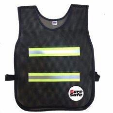 Suresafe Safety Vest เสื้อจราจรสะท้อนแสง รุ่น 2 แถบ สีดำ/เหลืองเทา แพค 1 ตัว .