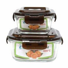 SWAN ชุดกล่องแก้วถนอมอาหารอเนกประสงค์ Glass fresh Bowl 2 ใบ รุ่น 02982