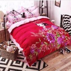 ขาย Sweet Kip ชุดผ้าปูที่นอน 6 ฟุต พร้อมผ้านวม 5 ชิ้น ลายเด็กผู้หญิงกับดอกไม้