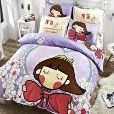 ราคา Sweet Kip ชุดผ้าปูที่นอน 6 ฟุต พร้อมผ้านวม 5 ชิ้น ลายเด็กผู้หญิงสีม่วง ใหม่ล่าสุด