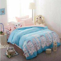ขาย Sweet Kip ชุดผ้าปูที่นอน 6 ฟุต พร้อมผ้านวม 5 ชิ้น ลายการ์ตูนแมวชมพูฟ้า ถูก ใน กรุงเทพมหานคร