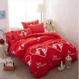 Sweet Kip ชุดผ้าปูที่นอน 6 ฟุต พร้อมผ้านวม 5 ชิ้น ลายคู่รักสีแดง2 เป็นต้นฉบับ