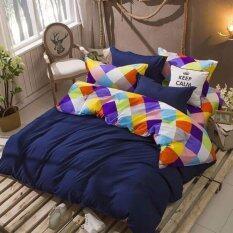 ขาย ซื้อ Sweet Kip ชุดผ้าปูที่นอน 6 ฟุต พร้อมผ้านวม 5 ชิ้น ลายสี่เหลี่ยมสีน้ำเงิน