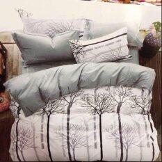 ราคา Sweet Kip ชุดผ้าปูที่นอน 6 ฟุต พร้อมผ้านวม 5 ชิ้น ลายต้นไม้สีเทา ใหม่