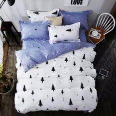 ราคา Sweet Kip ชุดผ้าปูที่นอน 6 ฟุต พร้อมผ้านวม 5 ชิ้น ลายต้นสนสีขาวเทา ใหม่ ถูก