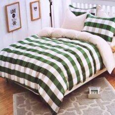 ขาย Sweet Kip ผ้าปูที่นอน 6 ฟุต พร้อมผ้านวม 5 ชิ้น ลายสก็อตเล็กสีเขียว ใหม่