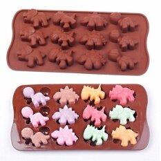 sweetis แม่พิมพ์ซิลิโคนลายไดโนเสาร์ 12 ช่อง สำหรับใช้เป็นแม่พิมพ์ ช็อกโกแลต น้ำแข็ง สบู่ เทียนหอม