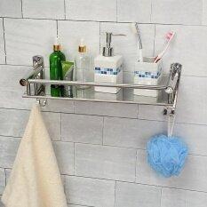 ขาย ซื้อ ออนไลน์ Tapcet 50Cm Wall Mount Stainless Steel Single Tier Storage Basket Bathroom Soap Dish Shampoo Rack Bathroom Intl